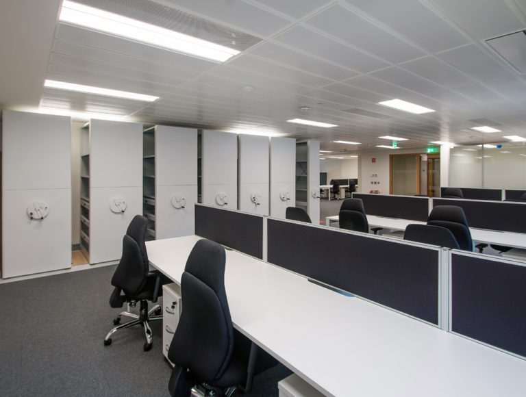Apex Office Bisley Inner Space Storage Systems with White Desks and Blue Office Chairs