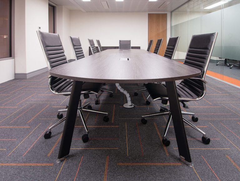 Apex Office Layout Walnut FInish Meeting Table with Cable Spine and Black Executive Meeting Chairs
