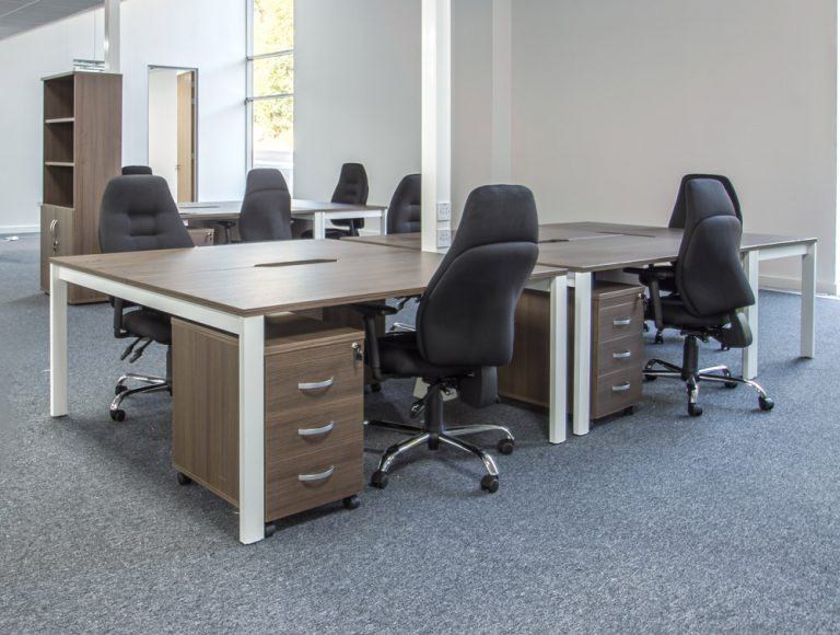 Moduslink office layout with walnuts office desks and chairs