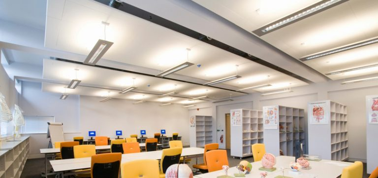 Office-ceiling-rafts-white-Raft-with-Wing