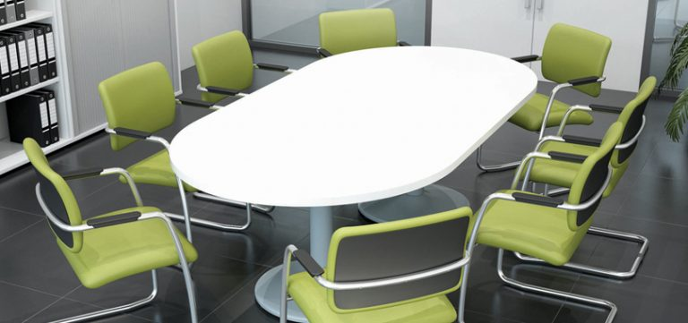 Office-meeting-room-Table-in-White-with-Green-Chairs