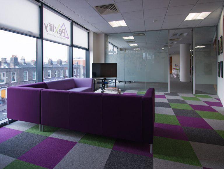 Pexlify Office Interior Purple Soft Seating with Contrast Floor Mat Radius Office