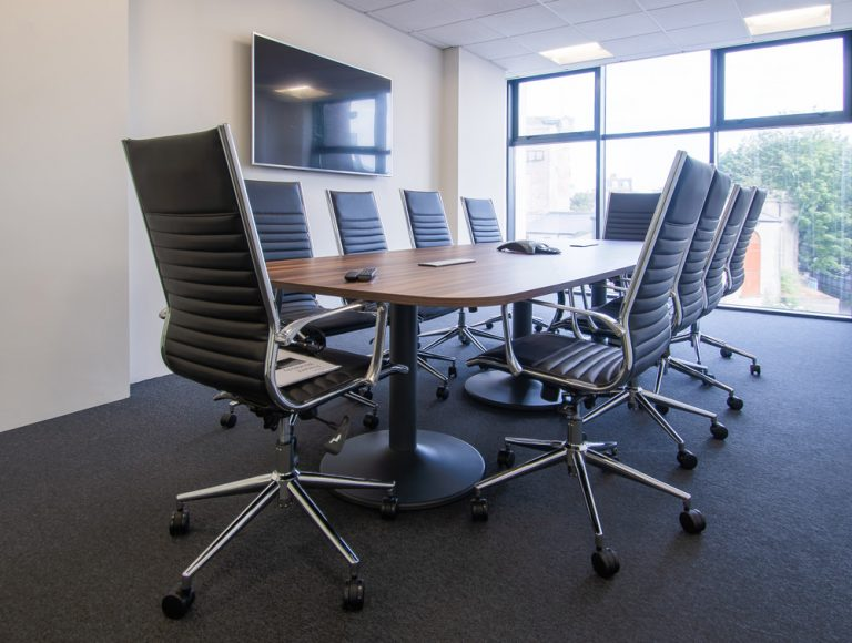 Pexlify Office Layout Boardroom Table with Black Meeting Room Swivel Chairs Radius Office