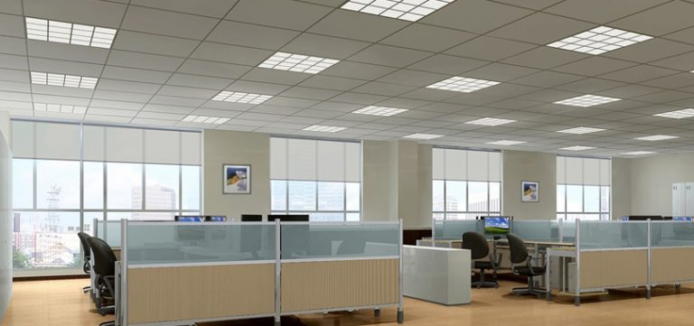 Suspended-Ceiling-Tile-in-Beige-Color-with-Square-Shapes
