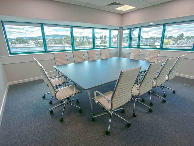 Twelve chairs around large confrence table installed by Radius Office