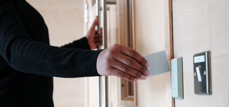 access control card swipe at the door