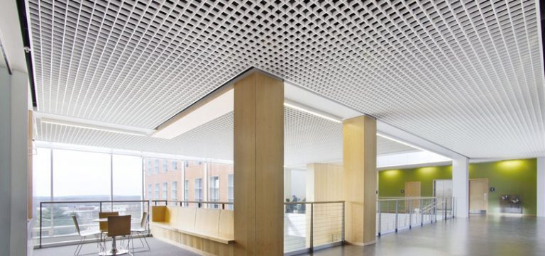Open cell ceilings with sound absorbing properties