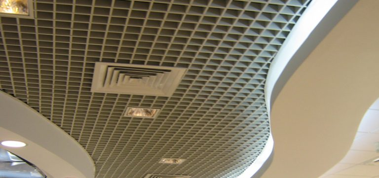 Open cell ceilings with cove lights and air condition vent