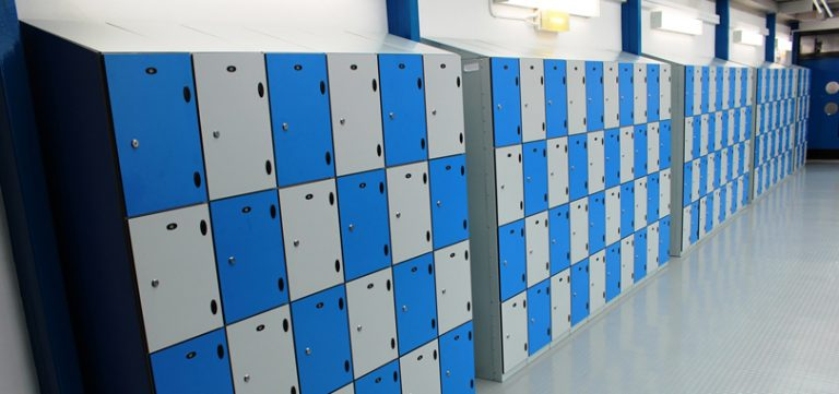 Personal Storage mini lockers in grey and blue colour