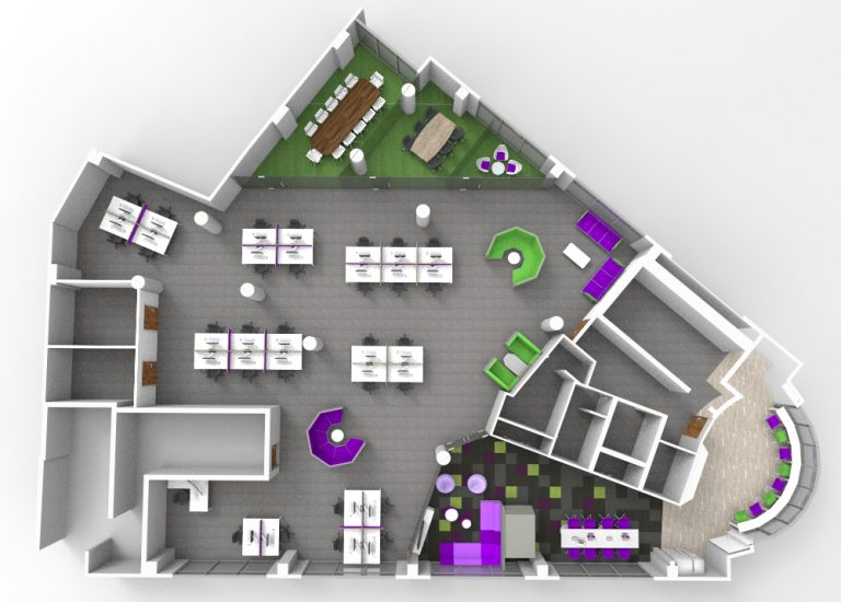 Aerial Shot of office layout