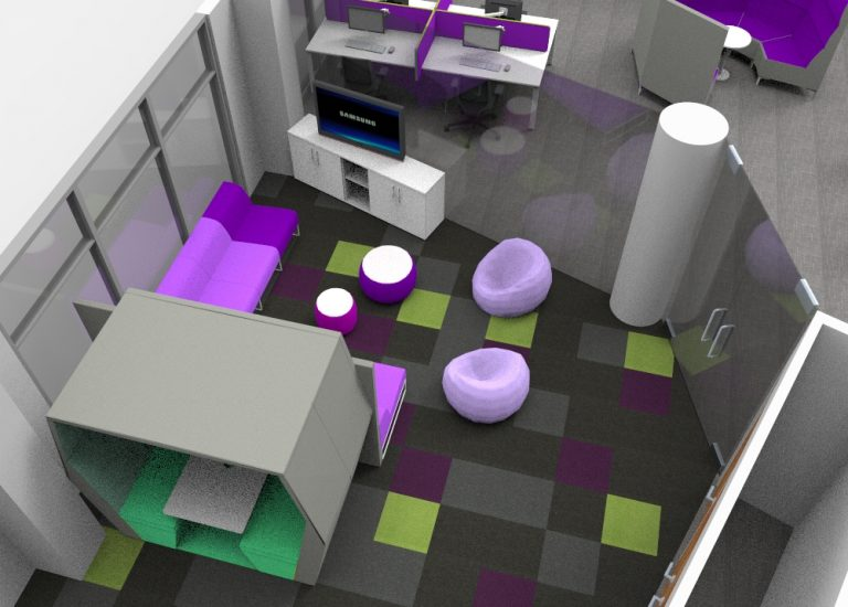 Breakout area with colourful carpet