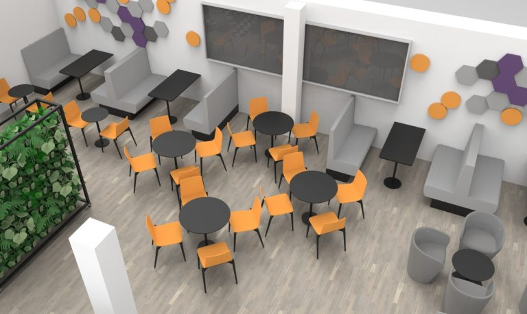 canteen design with colourful seating