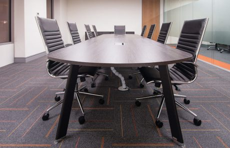Apex-Office-Layout-Walnut-FInish-Meeting-Table-with-Cable-Spine-and-Black-Executive-Meeting-Chairs
