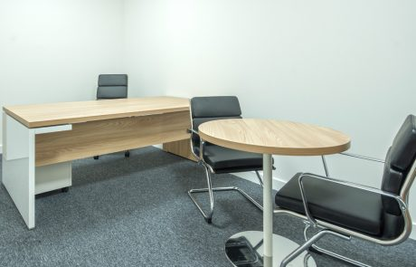 Moduslink-Office-Layout-Mito-Executive-Desk-with-Modesty-Panel-and-Round-Coffee-Table-in-Beech-Finish